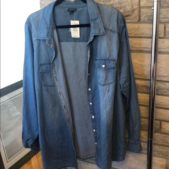 Denim jean button up shirt
